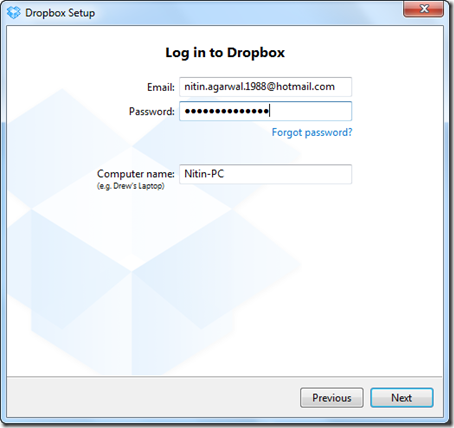 Login to Dropbox