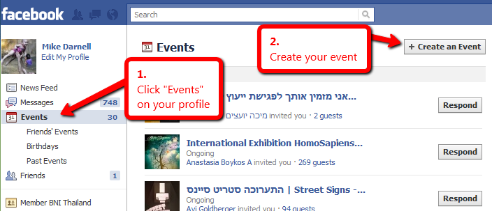 How to create an event via Facebook account