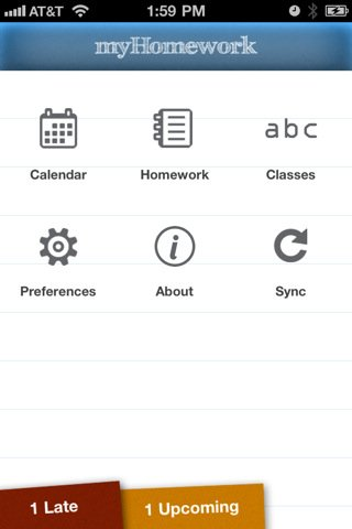 Myhomework app for iPhone