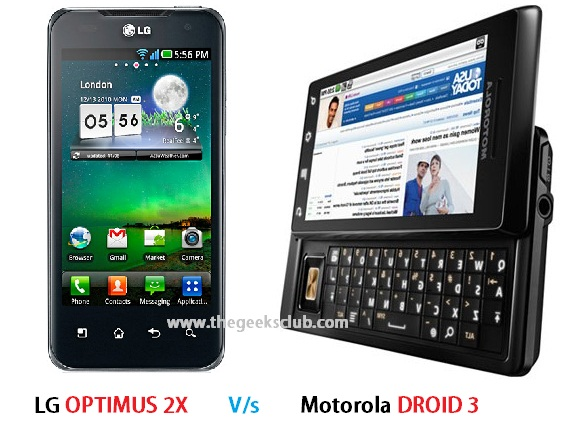 LG Optimus 2X Vs Motorola DROID 3 comparison