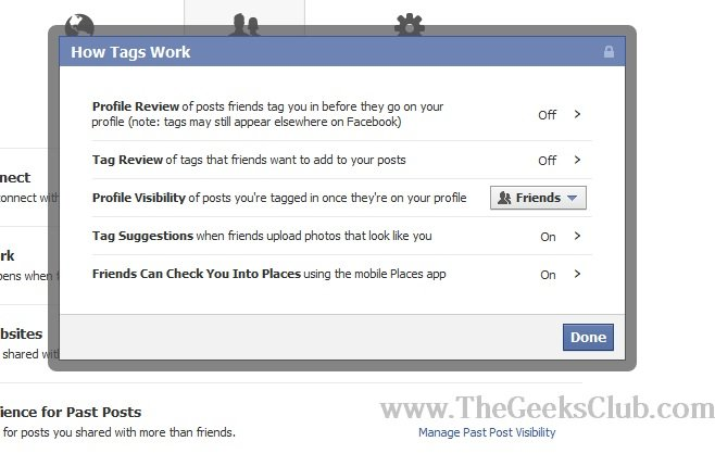 facebook profile privacy control