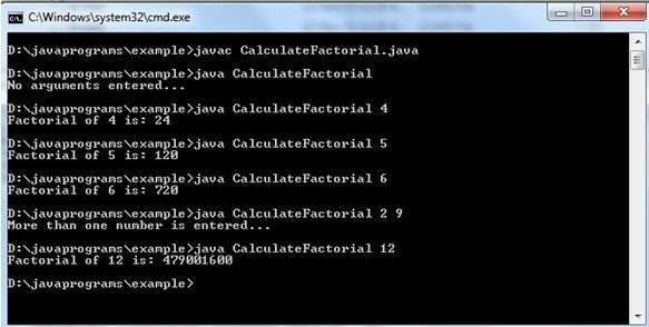 java factorial program