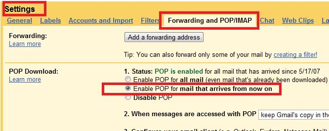 enable pop3 in gmail