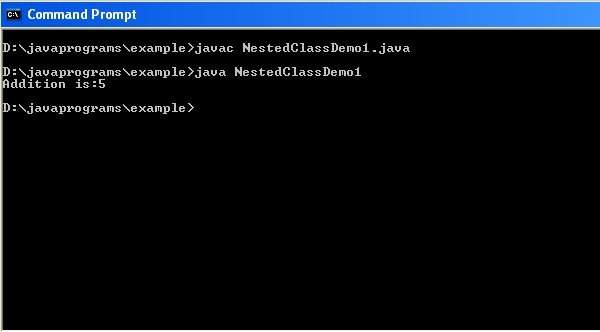 code for nested class in java
