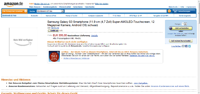 The SIII Galaxy Appears on Amazon Germany, Priced at 599 Euros