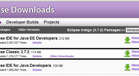 Eclipse download homepage