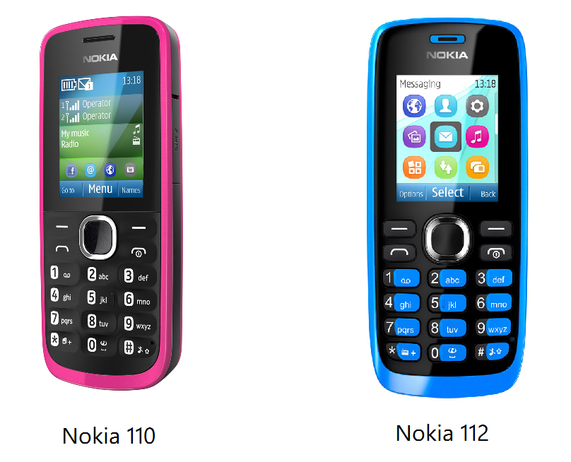Nokia 110 and 112