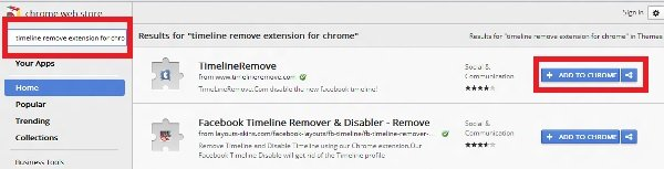 Remove Timeline in Chrome web store