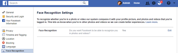 Facebook Face Recognition Settings