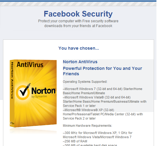 Facebook Security Page