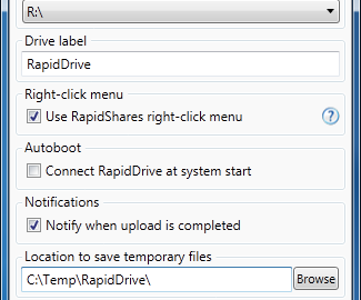 Rapid Drive Right click menu