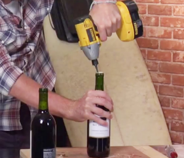 Use the drill Open a Wine Bottle without a Corkscrew