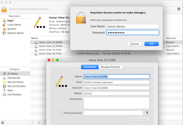 find saved passwords on MacBook OS X