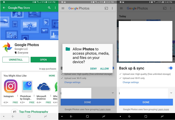 automatically backup the photos on an Android phone