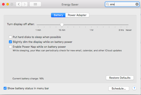 Energy Preferences Macbook OSX