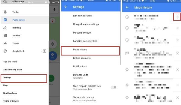 delete search location history Google Maps