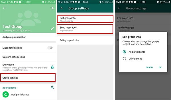 Edit Send Message and Group info Edit in WhatsApp