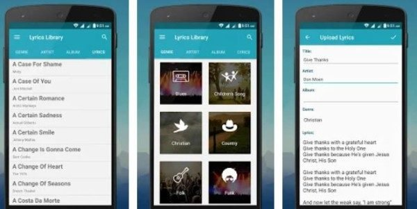 Lyrics Library App for Android