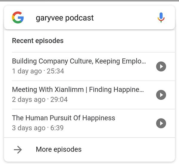 Podcast Search Result on Google
