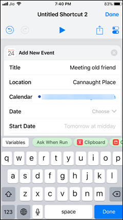 Use Calendar in Shortcuts App
