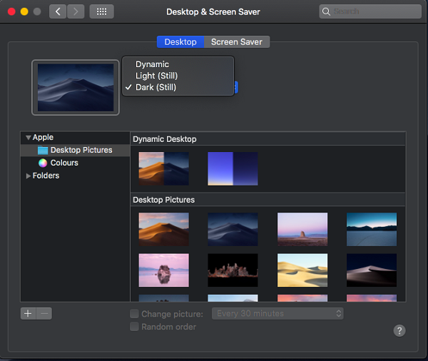 Dark Mode Settings in macOS Mojave