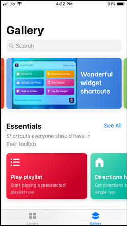 Shortcuts in Gallery Home Screen