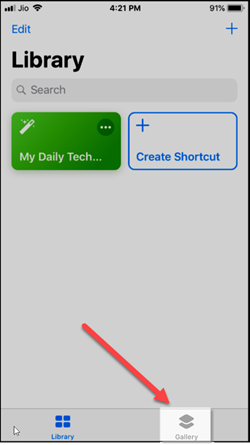 add a gallery shortcut to collection in iPhone
