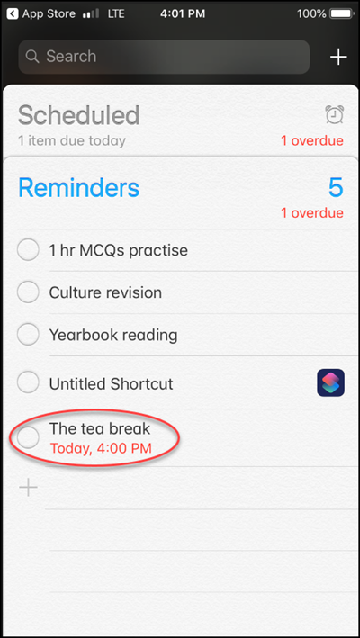 Add Reminder in Iphone
