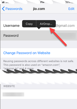 share saved passwords of websites or apps via AirDrop