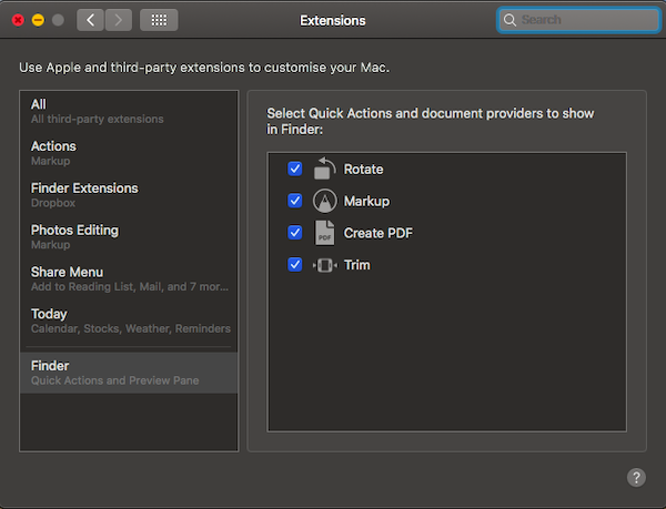 Customise Quick Actions