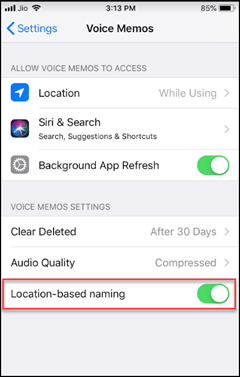 Disable Location for Voice Memos