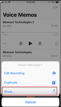 how to share voice memos in iPhone