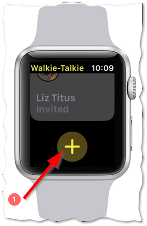 Add contact using the plus icon on Apple Watch
