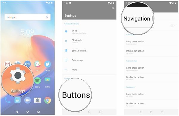 navigation gesture in android pie