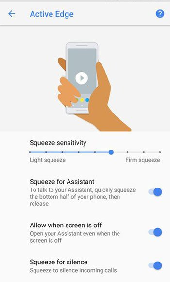 Change Active Edge Squeeze Sensitivity in Settings