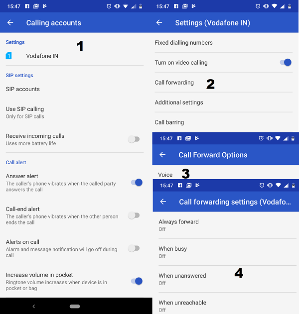 Configure Call forwarding Android 9 Pie