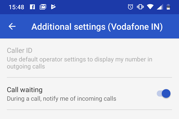 Turn on call waiting Android Pie