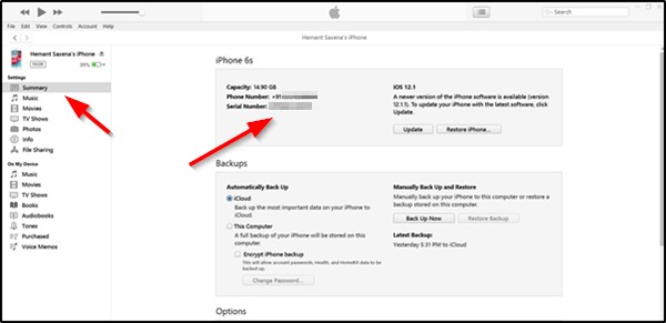 Find Serial Number of iPhone and iPad using iTunes