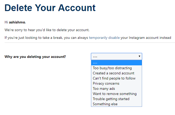 delete or deactivate Instagram account