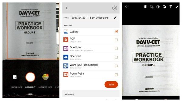 Office Lens app to scan documents