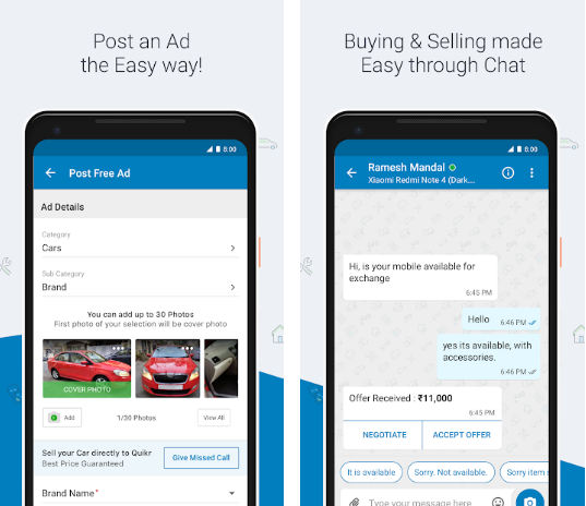 Sell used phones using Quikr